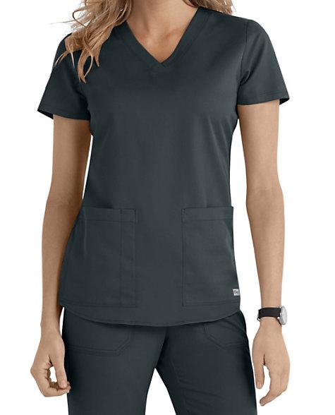 Grey s Anatomy 2 Pocket V-neck Scrub Tops  526618550814