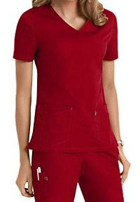 Scrubzone Red Women's V-neck Scrub Tops