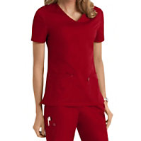 Scrubzone Red Women's V-neck Tops