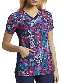 Papillion Petals V-Neck Print Top