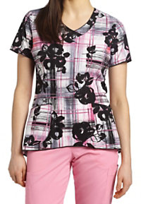 White Cross Jessie V-neck Print Scrub Tops
