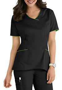 White Cross Allure High-low Hem V-neck Scrub Tops