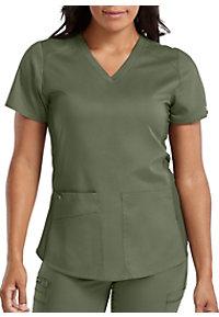 144d80b43c5 See Details item #7459 · Med Couture Touch Kerri Shirttail Hem Vneck Scrub  Top