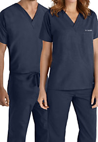 Landau Essentials Unisex V-neck With Chest Pocket Scrub Tops