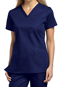 White Cross Cotton Stretch Denim 2 Pocket Scrub Tops