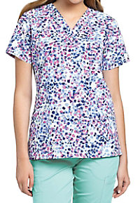 White Cross Mixed Petals V-neck Print Scrub Tops