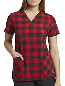 Red Buffalo Plaid V-Neck Print Top