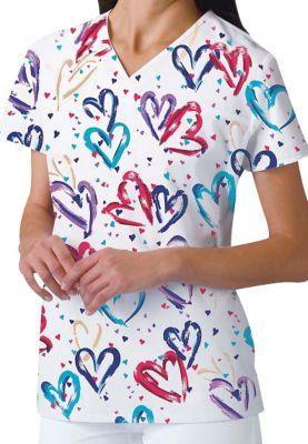 Heartbeat V-Neck Print Top