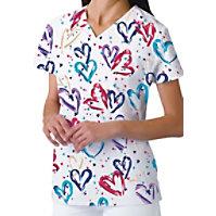 Cherokee Heartbeat V-neck Print Tops