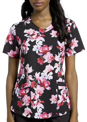 Orchid Garden V-Neck Print Top