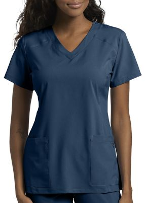 White Cross Fit 2 Pocket V-Neck Scrub Top