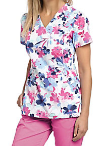 White Cross Secret Garden Crossover Print Scrub Tops