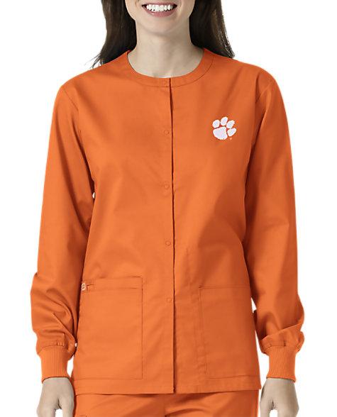 62303610232 WonderWink Collegiate Clemson Tigers Unisex Scrub Jacket | Scrubs & Beyond