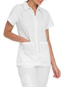 Nursing Student Zip Front Pleated Shoulder Top