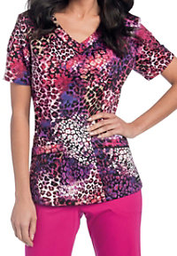 Landau Smart Stretch Phantom V-neck Print Scrub Tops