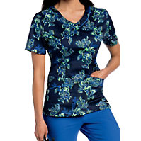 Landau Smart Stretch Wallflower V-neck Print Tops
