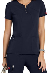 Dickies Xtreme Stretch Asymmetrical Notch Neck Scrub Tops