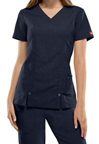 Dickies Xtreme Stretch Embossed Camo V-neck Scrub Tops