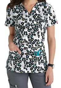 Dickies Gen Flex Here Kitty V-neck Print Scrub Tops