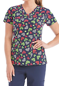 Med Couture Activate Love Me Do V-neck Print Scrub Tops
