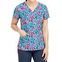 Med Couture Activate Polka Dot Fun V-neck Print Tops