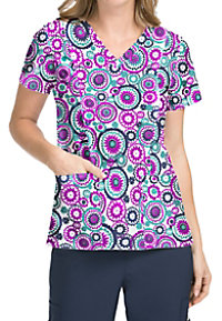 Med Couture Activate Round About V-neck Print Scrub Tops