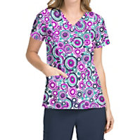 Med Couture Activate Round About V-neck Print Tops
