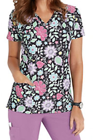 Med Couture Activate Spring Haze V-neck Print Scrub Tops