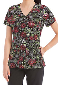 Med Couture Activate Round And Round Refined Print Scrub Tops