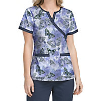 Med Couture MC2 Fancy Flutter Crossover Print Tops