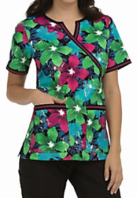 Med Couture MC2 Hot Tropic Crossover Print Scrub Tops