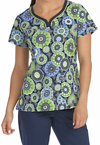 Med Couture MC2 Overlayed Impressions Print Scrub Tops
