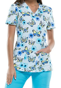 Dickies EDS Catching Butterflies Print Scrub Tops