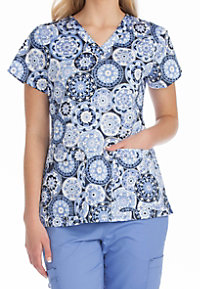 Med Couture MC2 Glory Daze V-neck Print Scrub Tops