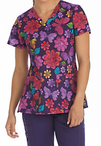 Med Couture MC2 Sweet Nature V-neck Print Scrub Tops