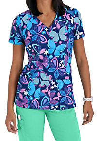 Med Couture Activate Catch Of The Day Print Scrub Tops