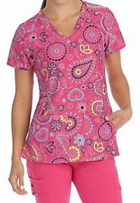 Med Couture Activate Pink Bloom V-neck Print Scrub Tops