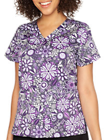 Assorted Petals V-Neck Print Top