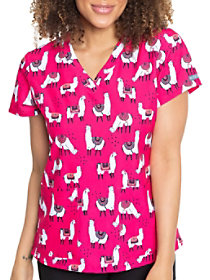 Loveable Llamas V-Neck Print Top