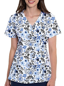 Indigo Floral V-Neck Print Top