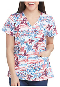 27982593f7b See Details item #8564PS · Med Couture Patriotic Stars V-Neck Print Scrub  Top. New
