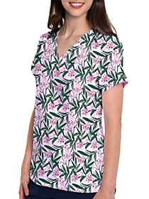 Tropical Palm V-Neck Print Top