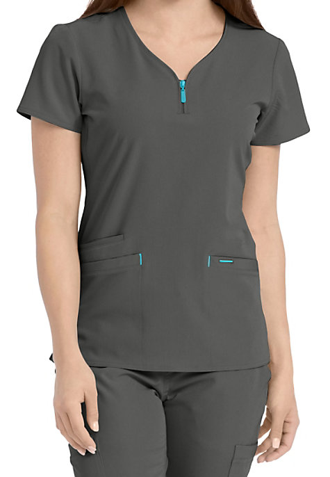 f4f83c3db0f Med Couture Air Zippity Zip Neck Scrub Tops | Scrubs & Beyond