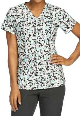Med Couture Air Triangle Illusion V-neck Print Scrub Tops