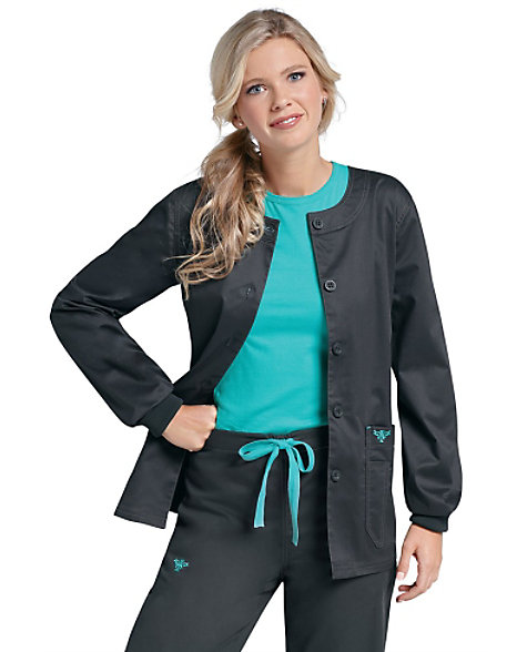 Med Couture Activate Women's Med Tech Jacket. This med tech jacket features a zipper pull that functions as a hair tie, bonded fleece that keeps you warm, two front welt pockets, and two hidden inside pockets. Center back length: 26