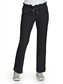 Ruffle Waist Straight Leg Pants