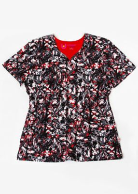 Marbled Red Print Top