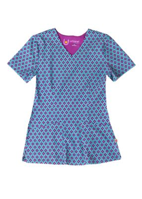 Round About Teal Print Top