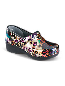Multi Leopard Patent Nursing Clogs