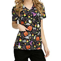 Med Couture Anna Boo Crew V-neck Print Tops